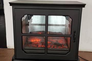 Heat surge electric fireplace that heats 1000