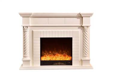 Front view of real looking electric fireplace